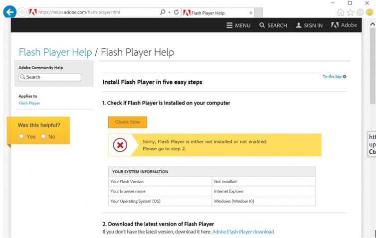 Microsoft Edge – Restoring Corrupt Flash Player in Windows 10